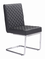 Zuo Modern Quilt Armless Dining Chair Black, Set of 2