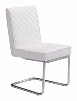 Zuo Modern Quilt Armless Dining Chair White, Set of 2