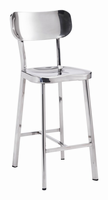 Zuo Modern Winter Counter Chair Stainless Steel, Set of 2