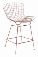 Zuo Modern Wire Counter Chair Rose Gold, Set of 2