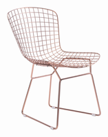 Zuo Modern Wire Dining Chair Rose Gold, Set of 2