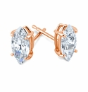 .75 Carat Each Marquise Cubic Zirconia Stud Earrings in 14K Yellow Gold