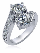 1.5 Carat Bypass Two Stone Round Engagement Ring