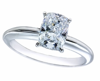 1.5 Carat Cushion Emerald Cut Cubic Zirconia Classic Solitaire Engagement Ring