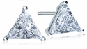 1.5 Carat Each Triangle Trillion Cubic Zirconia 14K White Gold Stud Earrings
