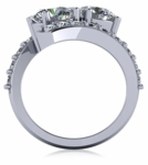 1.5 Carat Each Two Stone Round Bypass Pave Engagement Ring