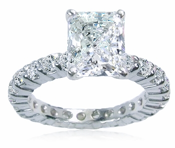 1.5 Carat Emerald Radiant Cut Cubic Zirconia Eternity Solitaire with Matching Round Eternity Band