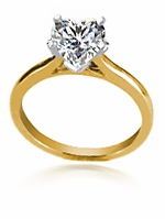1.5 Carat Heart Shaped Cubic Zirconia Cathedral Solitaire Engagement Ring