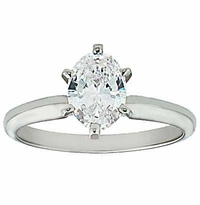 1.5 Carat Oval Cubic Zirconia Classic Solitaire Engagement Ring