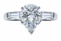 1.5 Carat Pear Cubic Zirconia Baguette Solitaire Engagement Ring