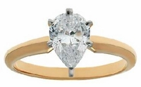 1.5 Carat Pear Cubic Zirconia Classic Solitaire Engagement Ring