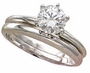 1.5 Carat Round Classic Solitaire Engagement Ring with Matching Band Wedding Set