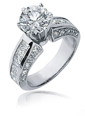Trevino 1 5 Carat Round Prong Set Cubic Zirconia Channel