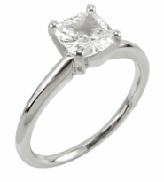 1 Carat Cushion Cut Cubic Zirconia Classic Solitaire Engagement Ring
