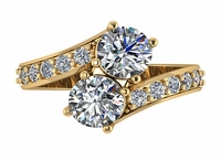 1 Carat Each Bypass Two Stone Round Pave Engagement Ring