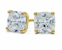 1 Carat Each Cushion Cut Cubic Zirconia Screwback Stud Earrings