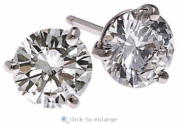 1 Carat Each Three Prong Round Cubic Zirconia Stud Earrings