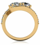 1 Carat Each Two Stone Round Bypass Pave Engagement Ring