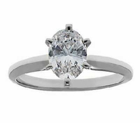 1 Carat Oval Cubic Zirconia Classic Solitaire Engagement Ring