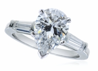 1 Carat Pear Cubic Zirconia Baguette Solitaire Engagement Ring
