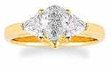 1 Carat Pear With Trillions Cubic Zirconia Three Stone Ring