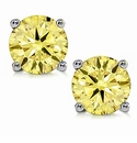 1 Carat Round Canary Yellow Stud Screwback Earrings in 14K White Gold