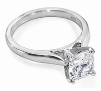 10 Carat Cushion Cut Square Cubic Zirconia Cathedral Solitaire Engagement Ring