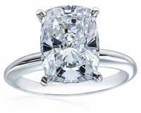 12 Carat Cushion Emerald Cut Cubic Zirconia Classic Solitaire Engagement Ring