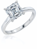 2.5 Carat Asscher Cut Cubic Zirconia Cathedral Solitaire Engagement Ring
