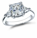 2.5 Carat Cushion Cut with Trillions Cubic Zirconia Three Stone Ring