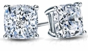 2.5 Carat Each Cushion Cut Screwbacks Earrings 14K White Gold