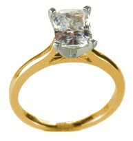 2.5 Carat Emerald Cut Cubic Zirconia Cathedral Solitaire Engagement Ring