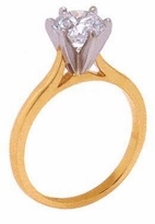 2.5 Carat Round Cubic Zirconia Cathedral Solitaire Engagement Ring
