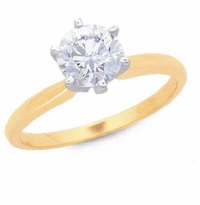 2.5 Carat Round Cubic Zirconia Six Prong Classic Solitaire Engagement Ring