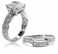 2.5 Carat Winston Cathedral Cushion Cut Cubic Zirconia Bridal Set with Contoured Matching Band