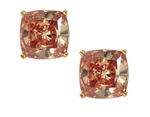 2.5 Carat Each Cushion Cut Cognac Diamond Look Cubic Zirconia Stud Earrings