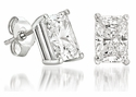 2.5 Carat Each Emerald Radiant Cut Cubic Zirconia 14K White Gold Stud Earrings