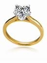 2 Carat Heart Shaped Cathedral Solitaire Engagement Ring 14K Yellow Gold