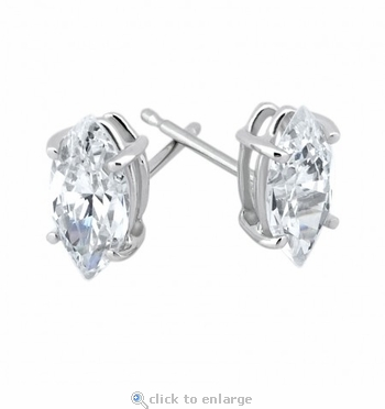 2 Carat Each Marquise Cubic Zirconia Stud Earrings in 14K White Gold