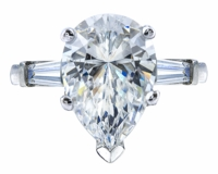 2 Carat Pear Cubic Zirconia Baguette Solitaire Engagement Ring