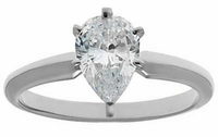 2 Carat Pear Cubic Zirconia Classic Solitaire Engagement Ring