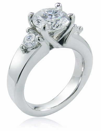 Dianna 2 Carat Round Cubic Zirconia Three Stone Ring And Matching