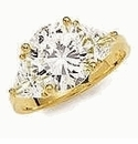 2 Carat Round With Trillions Cubic Zirconia Three Stone Ring