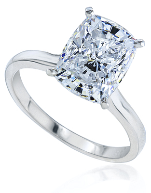 Carat Elongated Cushion Cut Cubic Zirconia Cathedral Solitaire