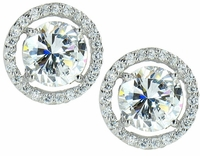 3.5 Carat Each LaRue Round Cubic Zirconia Halo Stud Earrings