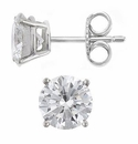 4 Carat Each Round Cubic Zirconia Platinum Stud Earrings