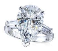 3 Carat Pear Cubic Zirconia Baguette Solitaire Engagement Ring