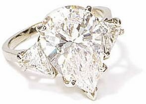 3 Carat Pear With Trillions Cubic Zirconia Three Stone Ring