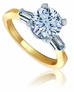 3 Carat Round Cubic Zirconia Baguette Solitaire Two Tone 14K Gold Engagement Ring