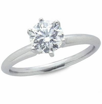 3 Carat Round Cubic Zirconia Six Prong Classic Solitaire Engagement Ring